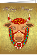 Happy Pongal, with Golden effect background and adorned cow card