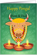 Mom & Dad Happy Pongal, with cow and candles, on a green background card