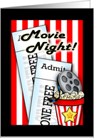 Movie and Popcorn Night is Here card