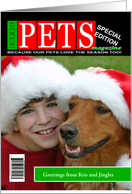 Holiday Pets Mock Magazine Cover Photo Card