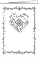 Medieval Heart Coloring Card