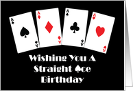 Straight Aces Birthday Playing Cards on Black Background. card
