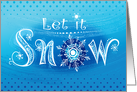 Hand Lettered Let It Snow Blue Christmas card