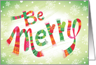 Be Merry Scarves Mittens Christmas card