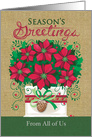 Burlap Red Poinsettia Planter Season's Greetings From All Of Us card
