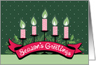 Red Candles Hand Lettered Season's Greeting Holly Pine card