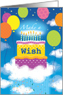 Birthday Make a WIsh Cake Balloons Blue Sky card