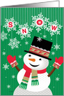 Happy Holidays Snowman Welcoming Snow card