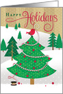 Happy Holidays Red Bird in Christmas Tree Business card
