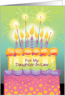 Custom Birthday Tall Cake with Candles Sparklers Daughter-In-Law card
