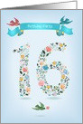 Birthday Invitation. Floral Number 16. Birds and ribbon. Custom text card