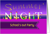 Summer Night. School's out Party. Invitation card. Custom front text card