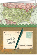 Custom Name Relocating to Another State, USA Vintage Map, Missing You card