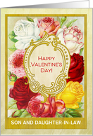 Custom For Son and Daughter-in-Law Floral Valentine's Day with Roses card
