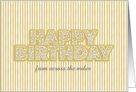 Web Patterned Happy Birthday on a Striped Customize Card