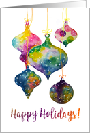 Happy Holidays - Watercolor Christmas Tree Ornaments card