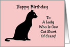 Birthday Card With A Silhouette Of A Cat One Cat Short Of Crazy card