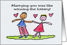 Cute Anniversary Card Marrying You Was Like Winning The Lottery card