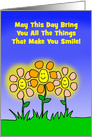 Thinking Of You Card With Smiling And Glowing Cartoon Flowers card