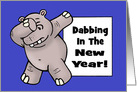 Humorous New Year's Card With Cartoon Hippo In A Dab Pose card