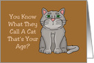 Humorous Getting Older Birthday Card With Cartoon Cat card