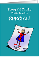 Father's Day Card with a Child Drawing of a Superhero card