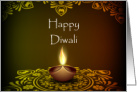 Diwali Card With Traditional Oil Candle Landscape card