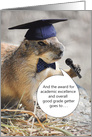 Funny Gopher in Graduation Hat Bow Tie and Microphone Announcing Award card