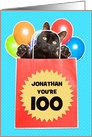 Happy Birthday Cat's Out of the Bag Custom Name and Age Humor card