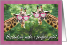Happy Anniversary Husband Funny Giraffe Pair card