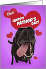 Happy Father's Day Dad Cute Black Lab with Hearts Humor card