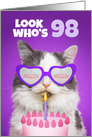 Happy Birthday 98 Year Old Cute Cat WIth Cake Humor card