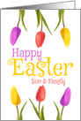 Happy Easter Son & Family Pretty Tulips card