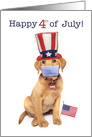 Happy Fourth of July Puppy With Face Mask Coronavirus Pandemic Humor card
