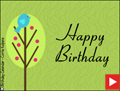 happy birthday, animated birthday card, bird in tree, bird,