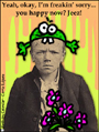 corrie kuipers,sorry,boy,grumpy,jeez,sorry already,bouquet,silly hat,fun,humor,humorous,