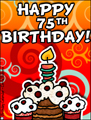 age specific birthday cards, 75 years old, 75th birthday, happy birthday,