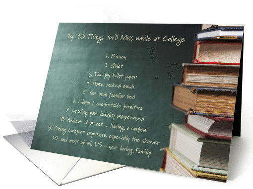 Top 10 Things Miss Away at College Humor chalkboard books card
