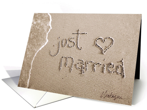 just married beach & sand card (36378)