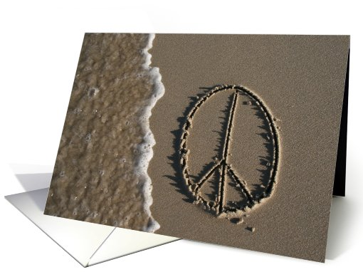 peace sign - beach & sand card (481589)