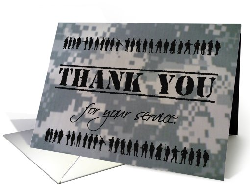 Thank You For Your Military Service Patriotic Support Our Troops card