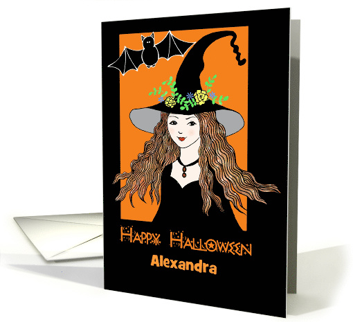 custom halloween card with young witch illustration card (1451882)