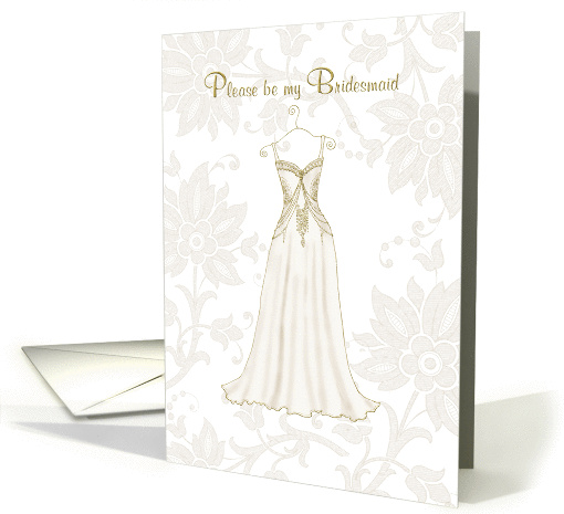 be my bridesmaid elegant gold floral dress card (193649)