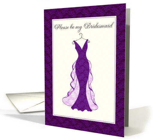 please be my bridesmaid purple lace gown card (316572)