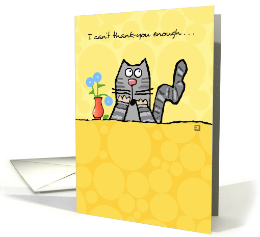 Can't Thank You Enough Cute Cat with Flowers card (936270)
