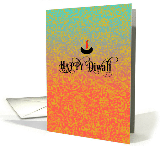 Sari Pattern in Blue, Pink and Gold - Happy Diwali card (1321882)