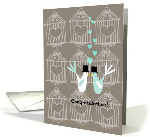 Cute Birds with Cages - Gay Wedding Congratulations card (673997)
