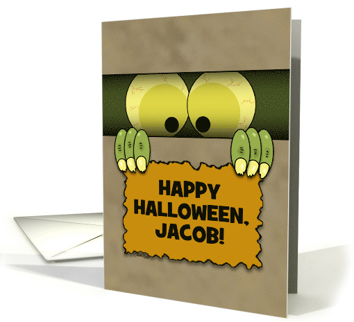 Customizable Name Happy Halloween, Jacob-Monster in a Box card