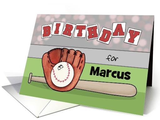 Customizable Name Happy Birthday Marcus, Baseball, Glove and Bat card