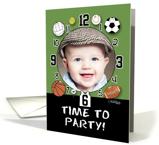 Customizable Birthday Invitation-Sports Clock-Time to Party card